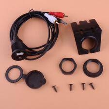 2RCA to 3.5mm AUX USB Car Dash Flush Mount Extension Cable + Bracket + Cap Kit