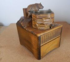 Black forest carved musical Cigarette box with carved bear 14cm x10cm x12cm