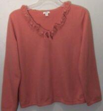 J Jill Womens Knit Sweater Size M Orange V-Neck Ruffle Cotton Angora Rabbit Hair