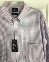 Stafford Men's Wrinkle Free Oxford Shirt Lavender Plaid X-Tall Fit Sz 18.5 New!