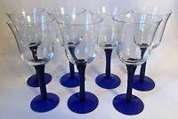 Vintage Wine Glasses Gobblets with Twisted Cobalt Blue Stem Set of 7