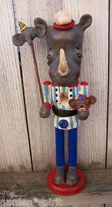 Vintage Circus Folk Art Rhinoceros Rhino Sock Monkey Elephant Nutcracker