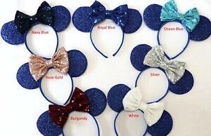 Blue Minnie Ears, Blue Mickey Mouse Ears, Blue Disney Ears HANDMADE