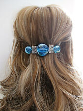 Blue glass and  tibetian silver  metal hair clip barrette