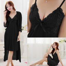 2 Pcs Silk Lace Sleepwear Night Gown Pajamas Long Bath Robes Babydoll Kimino