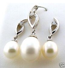 AAA 6-8MM FW White Pearl & Diamond Earrings & Pendant Set, 14K White Gold, NEW