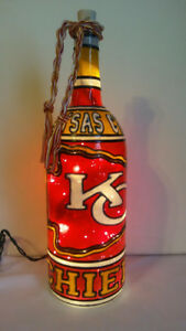 Kansas City Chiefs Wine Bottle Lamp Hand Painted Stained Glass look