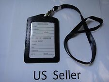 ID Card Holder Vertical strap Lanyard Genuine Leather for Retractable Badge USA
