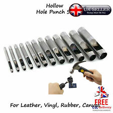 12pcs Hollow Hole Punch Tool Set Craft Leather Fabric Vinyl Gaskets Fiber Paper
