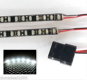 WHITE LED MODDING PC CASE LIGHT (TWIN 50CM STRIPS) MOLEX 60CM TAILS DBL DENSITY