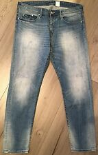H&M Jeans Stretchjeans Gr. 33/32 Denim Hose Widelegjeans Boyfriend blau distress