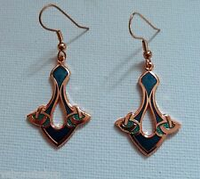 GOLD PLATED AND ENAMEL CELTIC A KNOX STYLE EARWIRE DROP EARRINGS