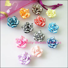 8Pcs Mixed Handmade Polymer Fimo Clay Lotus Flower Spacer Beads Charms 15mm