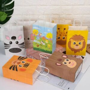 Kraft Paper Bags Jungle Safari Candy Packing Animal Treat Kids Gift With Handle