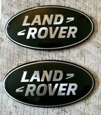 X2 LAND ROVER FRONT GRILL REAR TAILGATE BADGES BLACK & SILVER DEFENDER DISCOVERY