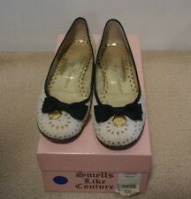 "JUICY COUTURE ""PEPPER"" Shoe White Broderie Anglais with Black Grosgrain RRP $390"