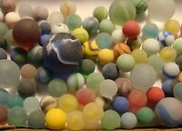 100 Vintage Glass Satin Marbles Swirls Cats Eye Jewel Shooters Brown Boulder