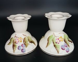 Antique Victorian Embossed Candlesticks, hand painted