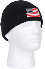 Black Deluxe Embroidered US Flag Watch Cap Cold Weather USA Winter Games Hat