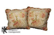 2 Arhaus Down Filled Throw Pillows Pair Floral Stripe Brocade Fringe Pink Beige