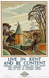 A3 A4 Size - Live in Kent and be Content 1927 Vintage Art Poster