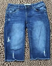 American Rag Cie Bermuda Jeans Shorts Womens 3 Blue Frayed Distressed Destroyed