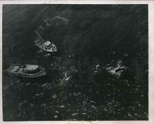 New Listing1950 Press Photo Small fishing boat sinks as crew rescued by other boats