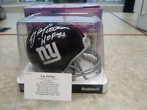 Y.A. Tittle Signed Auto New York Giants Mini Helmet Tristar HOF 71 YA