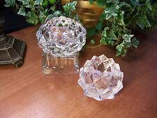 Set of 2 Orrefors ARTICHOKE & RASPBERRY Votive Candle Holders LOVELY CONDITION