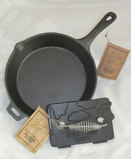 OLD MOUNTAIN CAST IRON PRE-SEASONED SKILLET AND COW GRILL PRESS SET-NEW