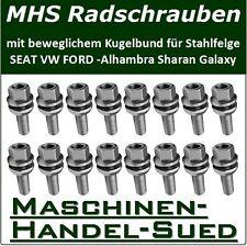 20 Radbolzen VW SHARAN 7M8 7M9 7M6 mit beweglichem Kugelbund - Stahlfelgen