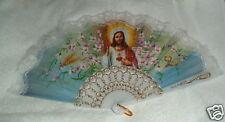 White SACRED HEART Hand Fan 10 in x 18 in NIB Catholic JESUS  Cool