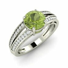 1.18 Ct Certified Peridot & Real Diamond 14k Solid White Gold Engagement Ring