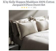 Kelly Hoppen Maddison 100% Cotton Jacquard 6 Piece Duvet Set Double Taupe New