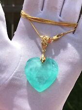 TITANIC STYLE NATURAL GLOWING NEON COLOMBIAN EMERALD MUZO NECKLACE HUGE 50 CT