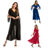 Women's Sexy V-neck Chiffon Maxi Dresses Ladies Summer Cocktail Evening Dress