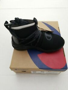 Kid's Champion RALLY HYPE SPORT Black Pull-On Tabs High Top Sneakers Shoes 12Y