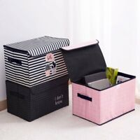 Foldable Storage Cube Boxes Bins Basket Container Organizer W Cover Stackable