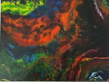 Acid Dream Black Light Original Painting Abstract Acrylic on Canvas 14x11 Fluid