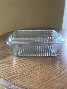 Vintage Refrigerator Dish W/ Lid Clear Ribbed Pasabahce Butter Dish Cottagecore