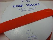ANCIEN GALON  ruban velours orange (164)   & ANTIQUE TRIM