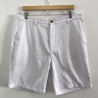 Vineyard Vines Mens 38x8.5 Links Short White Flat Front Golf Shorts