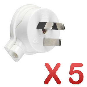 5 x HPM Side Entry Electrical Plug Top 3 Pin White 10A CD106/1WE