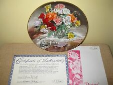 """George Vieonne Morley Collector Plate """"Roses"""" vase flowers letter mail"""