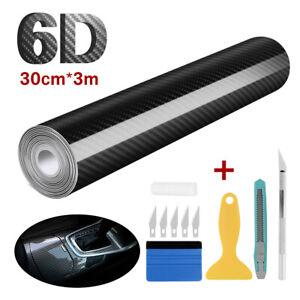 NEU 6D Carbon Folie Blasenfrei Autofolie Glanz Schwarz KFZ Klebe Folie 30x300cm