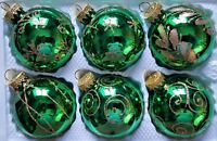 6 x Hand Painted Christmas Tree Glass Baubles Decorations - Green & Gold Glitter
