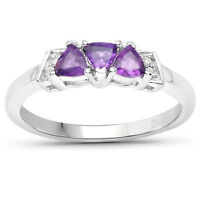 9ct White Gold Amethyst & Diamond Engagement Ring,Size H,I,J,K,L,M,N,O,P,Q,R,S