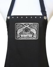 """Salon Apron """"WANTED"""" Crossed Guns hair stylist kitchen chef party NRA new"""