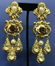 Zoe Coste Made In France Gold Tone Rhinestone & Faux Pearl Earrings