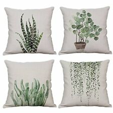 Set Of 4 Green Plant Throw Pillow Covers Decorative Cotton Linen Cover Sofa Home